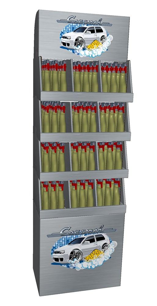 Tämä on uudentyyppinen hyllyillä varustettu display, joka muodostuu pinottavista lokerikoista. Niihin voi sujautella yhtä ja toista. Sopii niin toimistoon kuin kukkakauppaankin. Valmistamme telineet asiakkaan tuotteiden tarpeen mukaisessa koossa.
