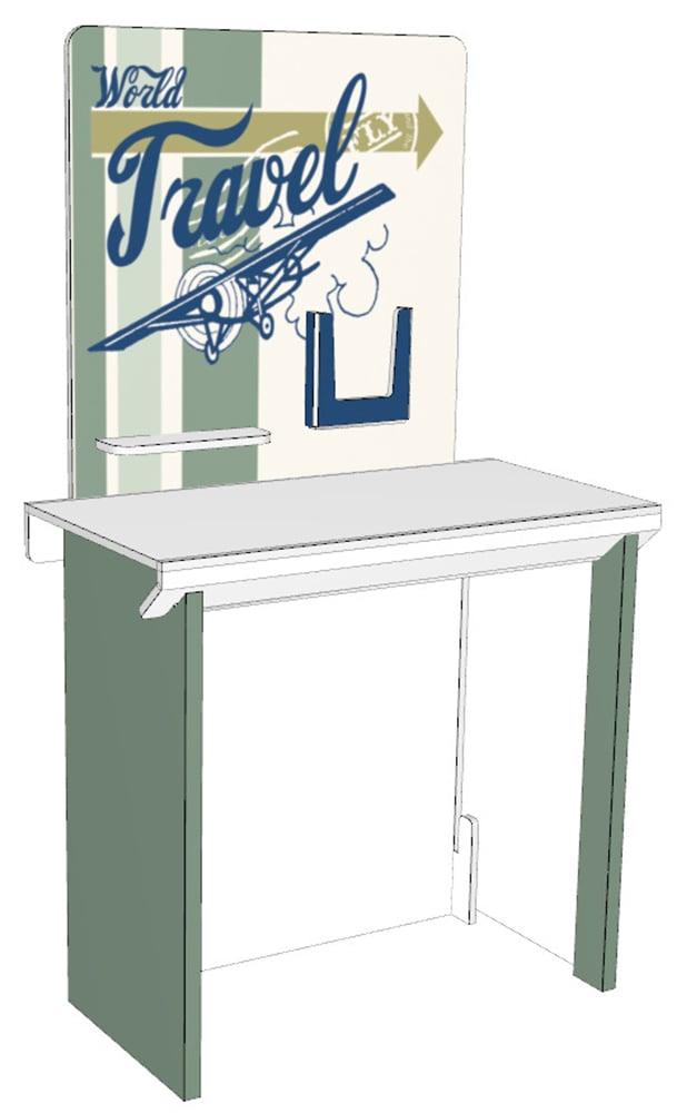 Tämä pöytä sopii hyvin pienille messuosastoille tai partnerpisteeksi osaksi isompaa messuosastoa. Taustaseinään voidaan laittaa esim. lokeroita esitteita varten tai hyllyjä. Pöytäkokonaisuus menee pieneen tilaan ja voidaan kuljettaa vaikka henkilöautolla. Helppo koota ilman työkaluja.