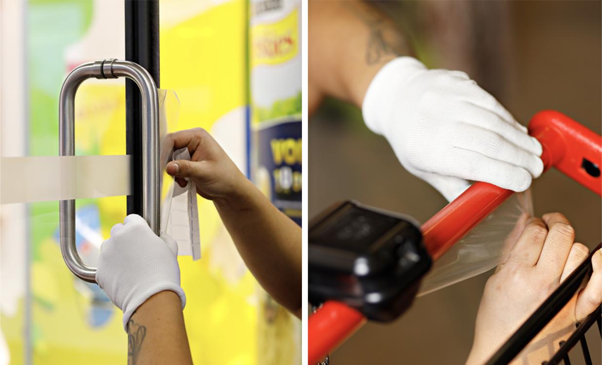Prexelent-kalvoa asennetaan ovenkahvaan ja ostoskärryyn.