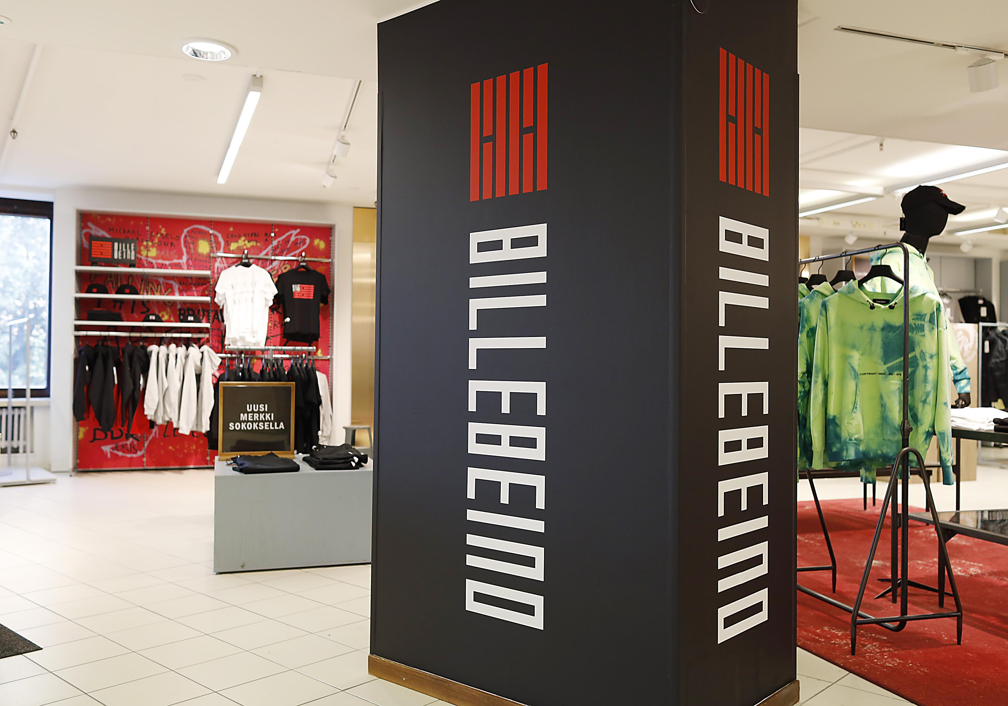 Billebeinon myymälämarkkinointiin on panostettu ja myyntipisteestä on tehty näyttävä.